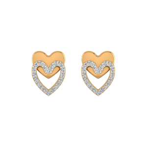 Golden Shadow Diamond Stud Earrings