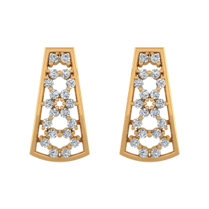 Flower Track Diamond Stud Earrings