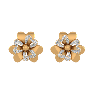 The Floral Lap Diamond Stud Earrings