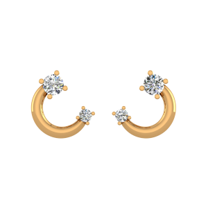 The Moon & Stars Diamond Stud Earrings