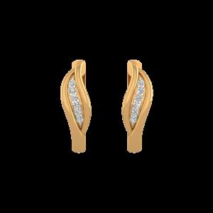 Golden Suave Diamond Stud Earrings