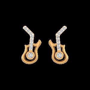 Guitar Play Diamond Stud Earrings