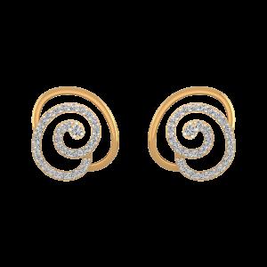 Golden Dessert Diamond Stud Earrings