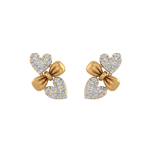 Heart Knot Diamond Stud Earrings