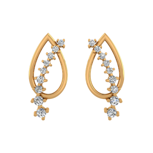 The Sparkling Midrib Diamond Stud Earrings
