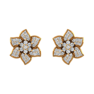 Happy Flowers Diamond Stud Earrings