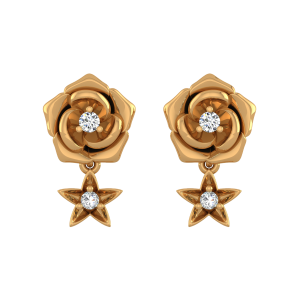 Starry Rose Diamond Stud Earrings