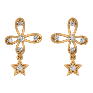 Star Lift Diamond Stud Earrings
