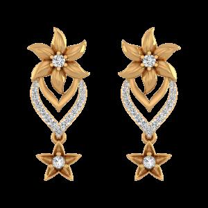 Team Up With Flower Diamond Stud Earrings