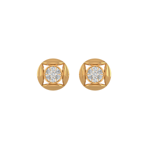 Circular Whoop Diamond Stud Earrings