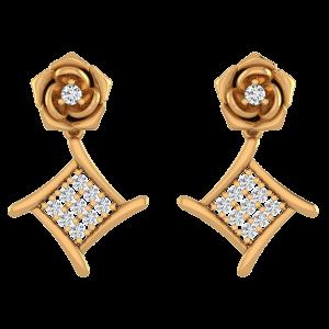 Dancing Roses Diamond Drop Earrings