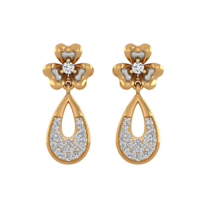 Floral Drops Diamond Drop Earrings