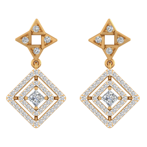 Geometrical Rule Diamond Drop Earrings