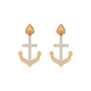 Lovers Anchor Diamond Drop Earrings