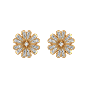 Floral Facade Diamond Stud Earrings