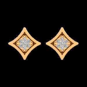 Floral Socket Diamond Stud Earrings