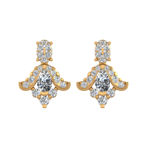 Fleur-De-Lis Diamond Drop Earrings