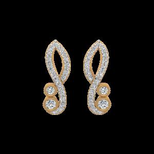 Flame Type Diamond Stud Earrings