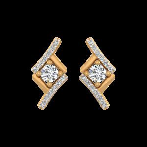 The Round Square Diamond Stud Earrings