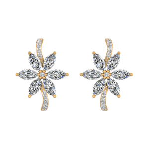 Floral Allure Diamond Stud Earrings
