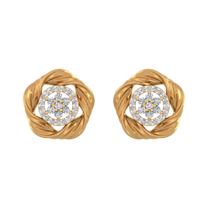 Golden Glow Diamond Stud Earrings