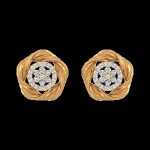 Golden Glow Diamond Stud Earrings