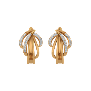 Golden Grip Diamond Stud Earrings
