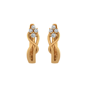 Gold Flow Diamond Stud Earrings