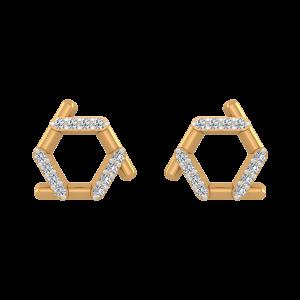 Fantastic Folds Diamond Stud Earrings