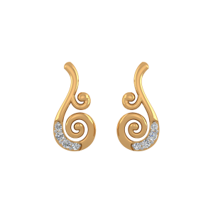 Golden Swirls Diamond Stud Earrings