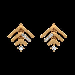 Arrows Band Diamond Stud Earrings