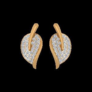 Leafy Drops Diamond Stud Earrings