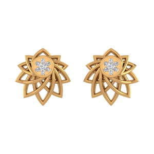 The Floral Rise Diamond Stud Earrings