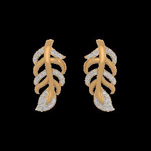 Leafy Elixir Diamond Stud Earrings