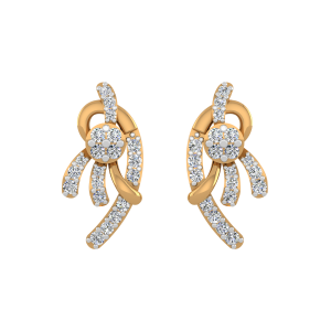 Golden Dazzlers Diamond Stud Earrings