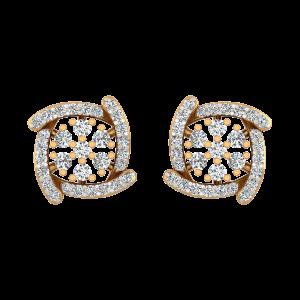 Floral Range Gold Diamond Stud Earrings