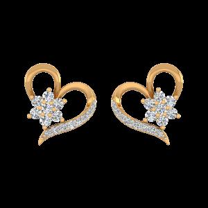 Floral Aspect Gold Diamond Stud Earrings