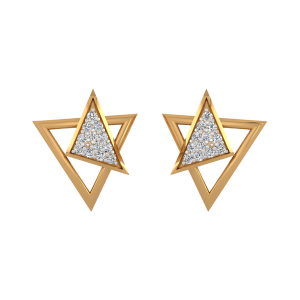 Point Of View Gold Diamond Stud Earrings