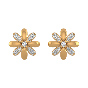 Floral Choice Gold Diamond Floral Earrings
