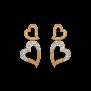 Swinging Hearts Gold Diamond Heart Earrings