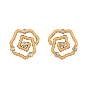 The Imperfect O Gold Diamond Stud Earrings