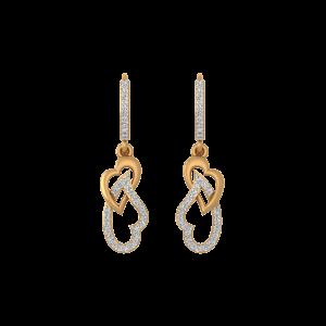 Hanging Hearts Gold Diamond Dangler Earrings