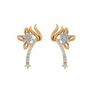 The Floral Feel Gold Diamond Stud Earrings