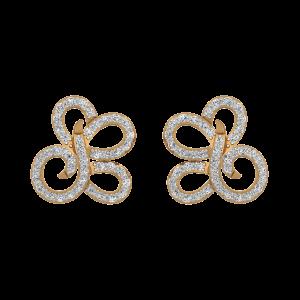 Golden Calligraphy Gold Diamond Stud Earrings