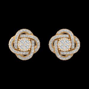 The White Nebula Gold Diamond Stud Earrings