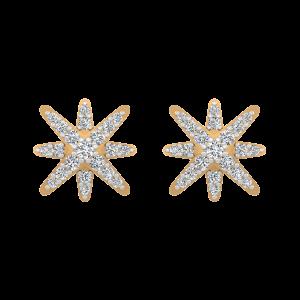Starry Stars Gold Diamond Stud Earrings