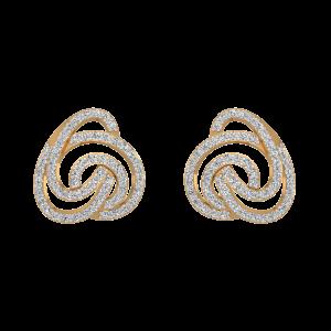 The Golden Recoil Gold Diamond Stud Earrings