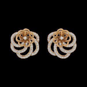 The Fragrance Gold Diamond Floral Earrings