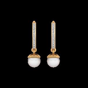 The Pearls Hoop Gold Diamond & Pearl Earring