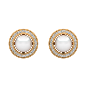 The Pearly White Gold Diamond & Pearl Earring